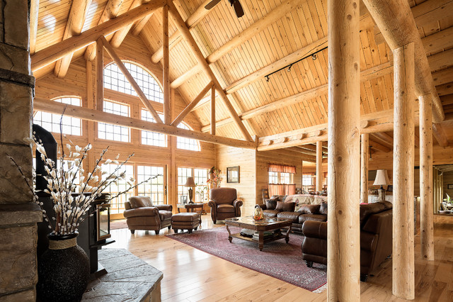 Custom Northern Maine Log Home Estate rustic-living-room