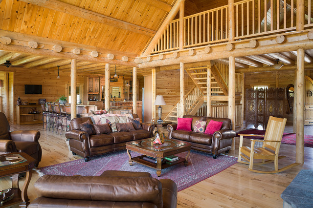 Custom northern maine log home estate rustic living for Living room 6 portland
