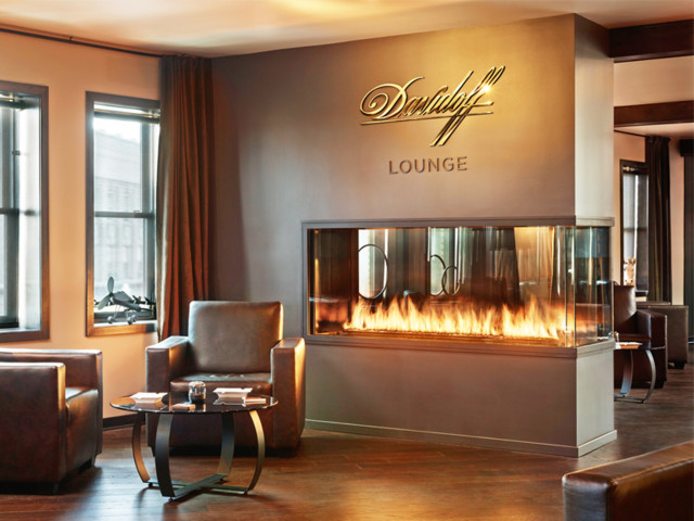 Custom Peninsula Fireplace - Davidoff Cigar Lounge - Contemporary - Living Room - Minneapolis ...