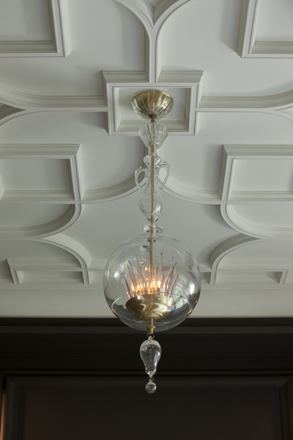 Custom Plaster Tracery Ceiling transitional-living-room