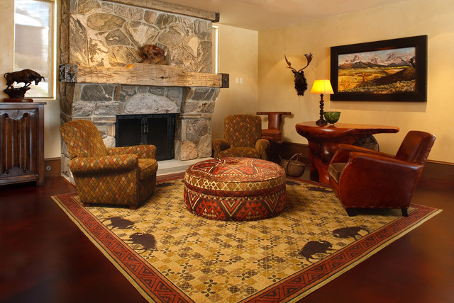 rustic empty living room carpet | Custom Rugs - Rustic - Living Room - Other - by Woodland ...