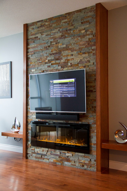 Custom Stone and Wood Fireplace Built-in - Contemporary - Living Room - other metro - by Millard ...