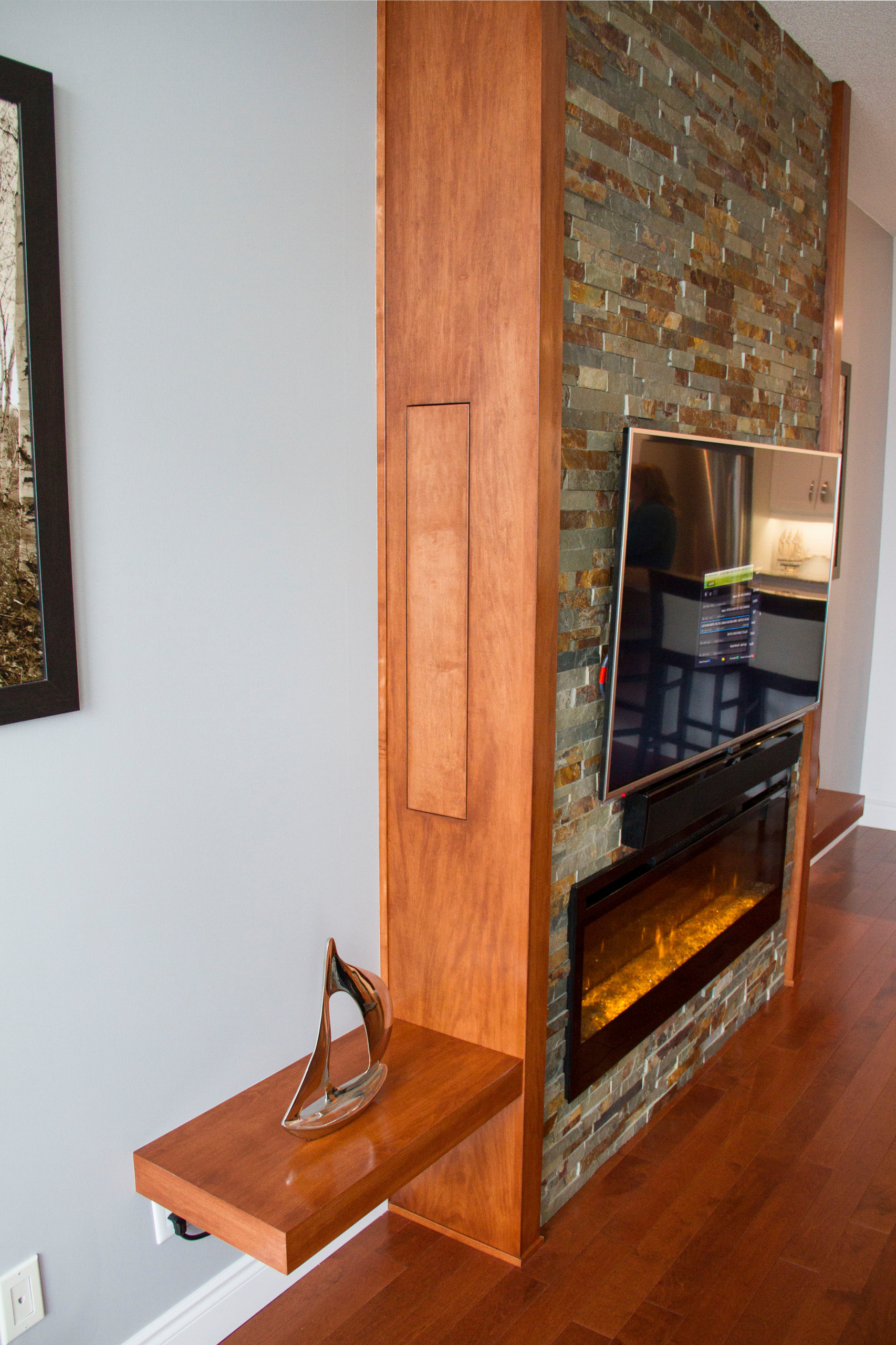 Custom Stone and Wood Fireplace Built-in