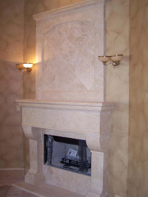 Custom Travertine Fireplaces Traditional Living Room Salt Lake City B
