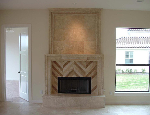 Custom Travertine Fireplaces