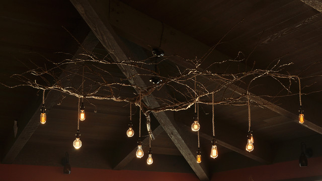 Custom Tree Branch Chandelier Rustic Living Room