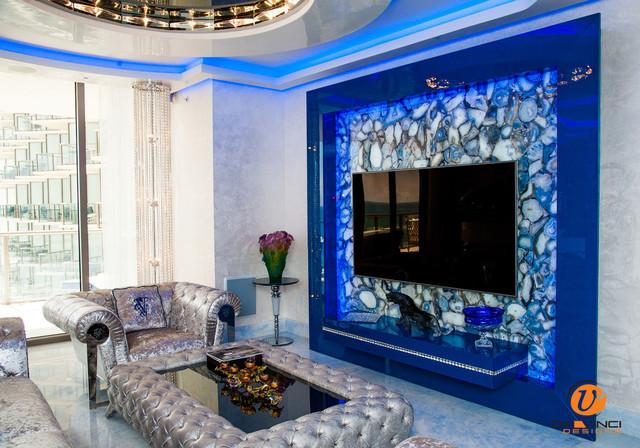 Custom TV Wall Unit Media Center Modern Living Room Miami By Da Vinci Designs Cabinetry