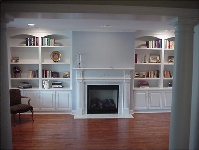 custom wall units traditional living room  york  cleary custom cabinets