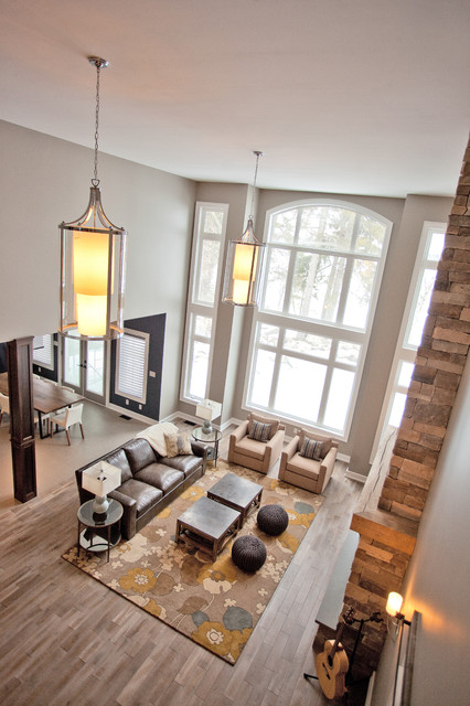 Custom Waterfront Home Barrie transitional-living-room