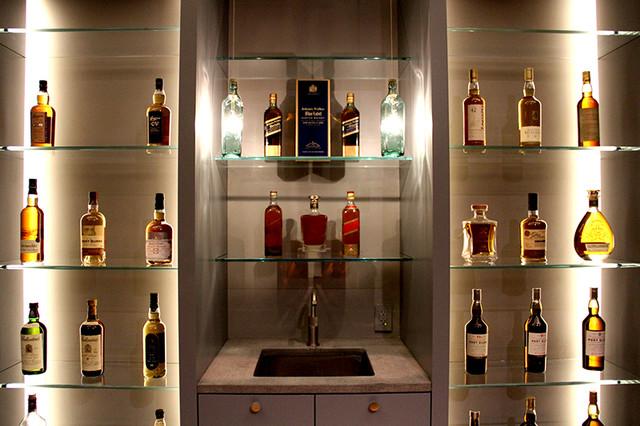 Custom Whiskey Bottle Pendant Lights Craftsman Living Room