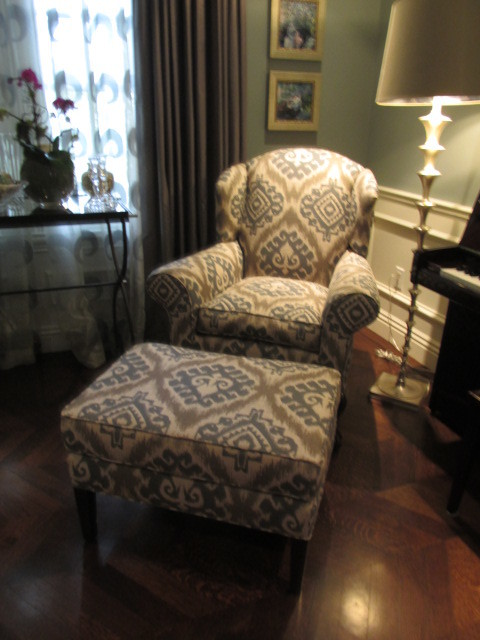 Custom Wingback Chair With Matching Ottoman Traditional