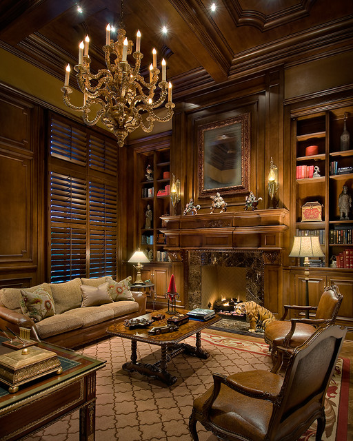 Traditional Study Room: Custom Wood Panel Study