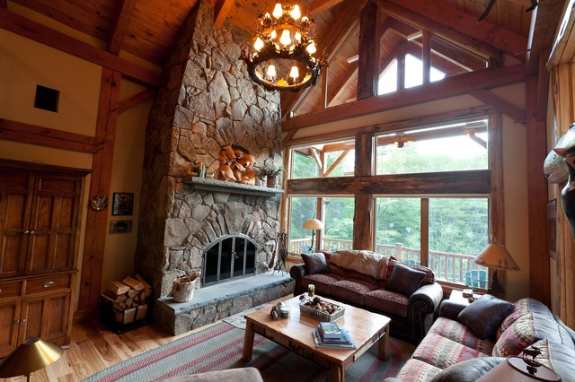 Custom Woodhouse Timber Frame In Bethel NY Rustic Living Room