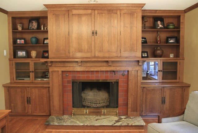 Custom woodworking fireplace mantel with bookcases and for Craftsman fireplace designs