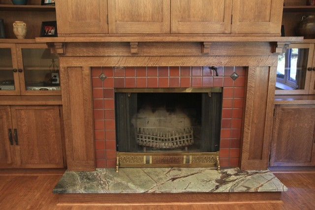 Custom woodworking fireplace mantel with bookcases and for Craftsman fireplaces photos