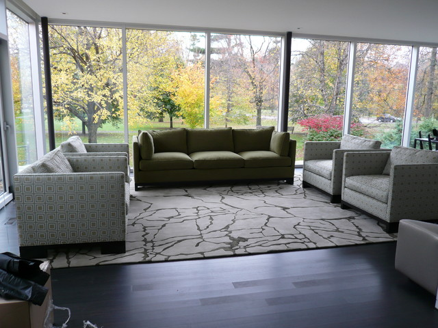 Custom Wool and Bamboo Rug contemporary-living-room