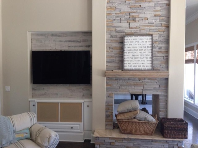 Customer stikwood photos - Wall covering ideas for living room ...