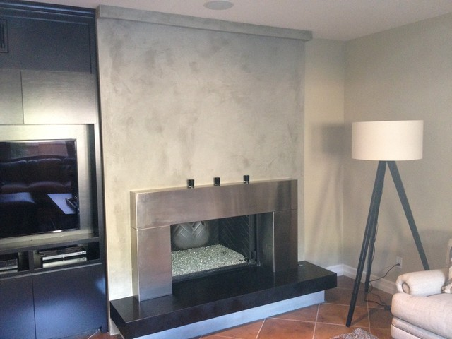Custon Venetian Plaster Fireplace Contemporary Living