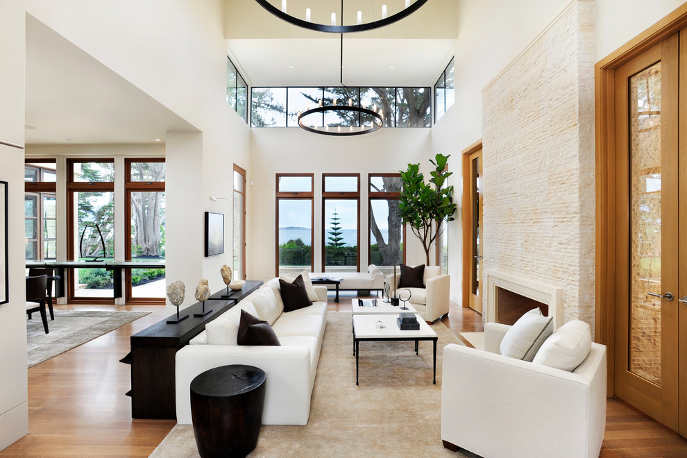 Living room - large contemporary medium tone wood floor living room idea in San Francisco with white walls