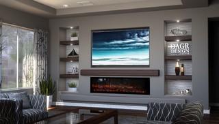 Dagr Design Media Wall Calm Tv Above Linear Fireplace