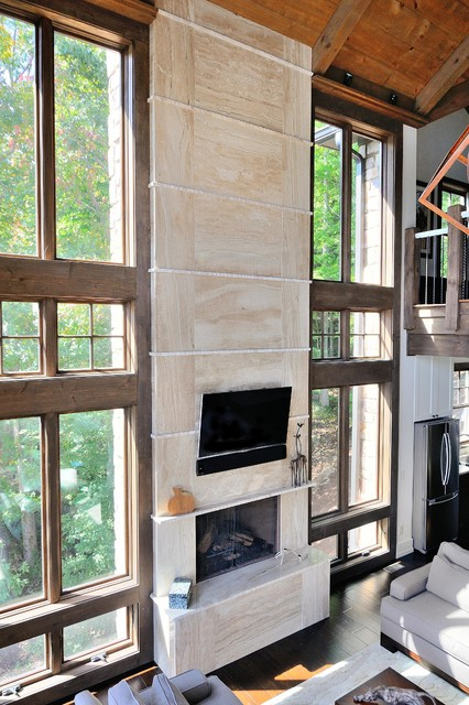 Daino Reale marble fireplace - Contemporary - Living Room ...