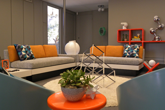 Great 1960s Living Room Photo In Dallas With Gray Walls Part 10