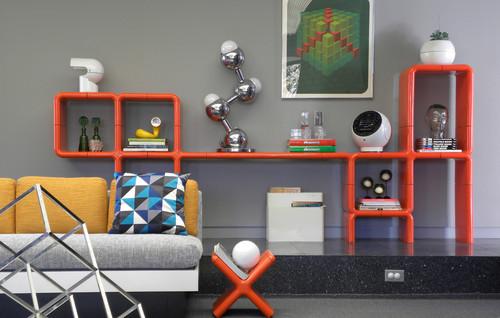 estante librero y revistero en color naranra