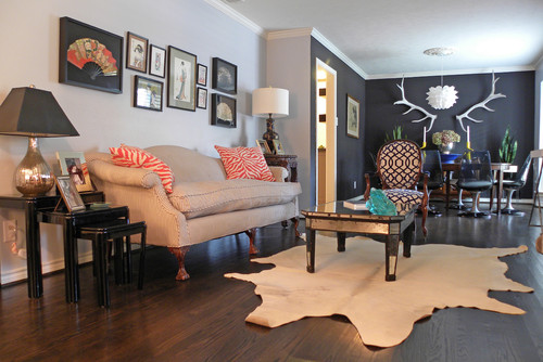 Caviar, By Sherwin Williams (soft Black) And Manhattan Mist, By Behr Paints  (gray White). Eclectic Living Room ...