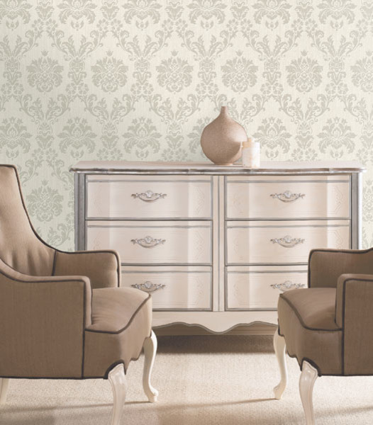 Damask Wallpaper Traditional Living Room Boston By - Damask living room furniture