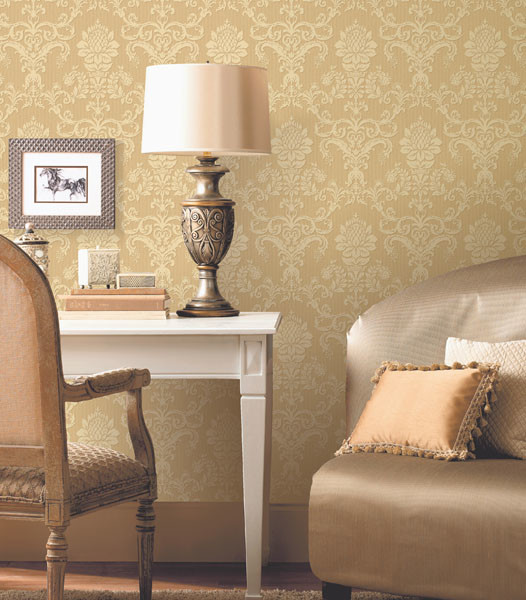 Damask wallpaper traditional living room other metro for Wallpaper traditional home