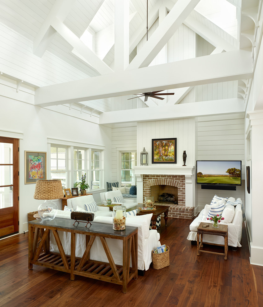 Inspiration for a coastal living room remodel in Charleston