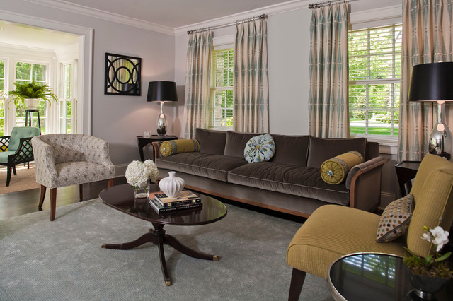Inspiration for a mid-sized transitional formal and open concept living room remodel in Bridgeport with gray walls, no fireplace and no tv