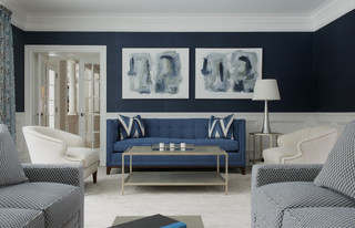 Many shades of cream and blue in a monochromatic living room scheme