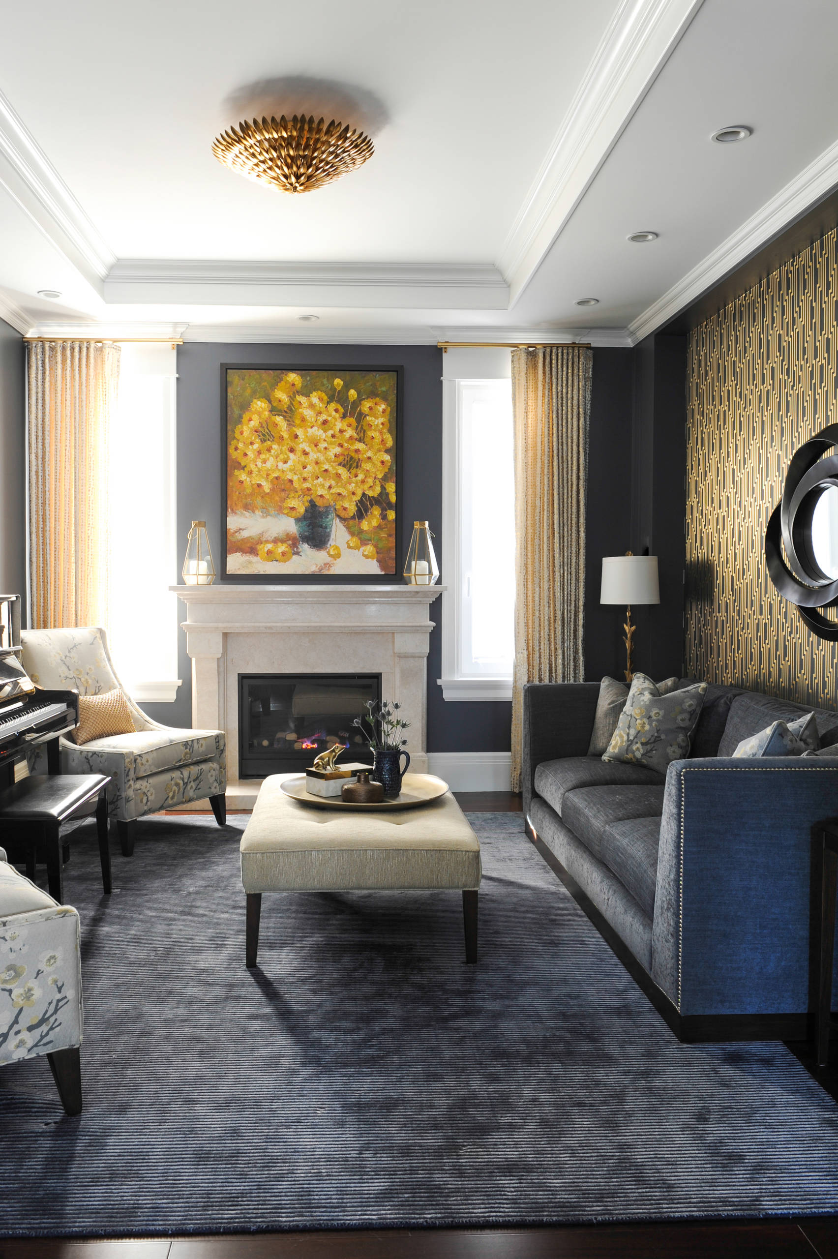 Navy Gold Living Room Ideas Photos Houzz