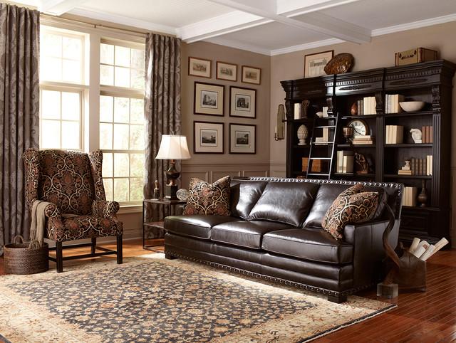 dark brown leather sofa with nailhead trim  contemporary