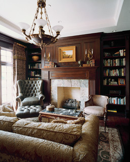 Dark Cherry Stained Library with Tray Ceiling and Stone Slab Surround Flush Fire - Victorian - Living Room - Chicago - by Orren Pickell Building Group