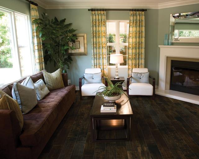 chocolate silverado hardwood flooring mediterranean living room