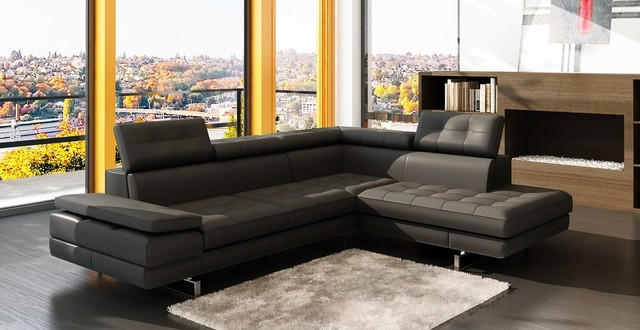 Dark Gray Bonded Leather Sectional Sofa With Chaise Modern Living Room