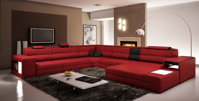 dark red living room italian leather sectional sofas modern living 14578