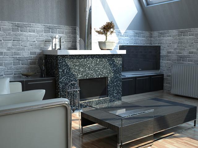 Dark Stone Amp Tile Fireplace Modern Living Room Miami