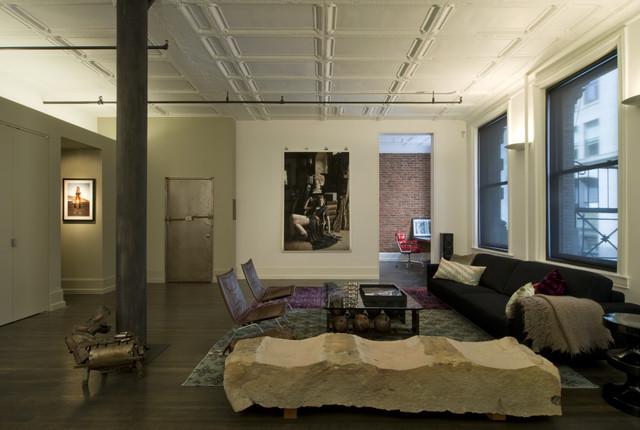 David Howell Design Industrial Living Room New York