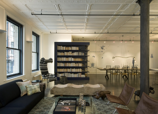 David howell design industrial living room new york for Idee deco loft new yorkais