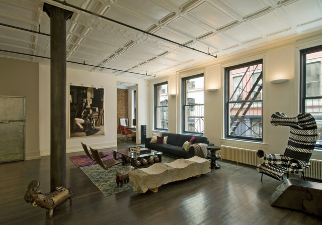 David Howell Design Industrial Living Room New York