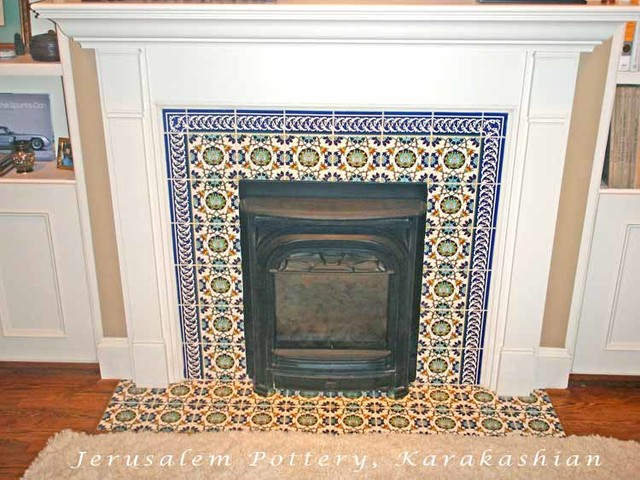 David 39 s fireplace tile mediterranean living room tel for Mediterranean fireplace designs