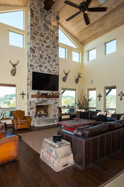 Davis Ranch Comfort Texas Rustic Living Room Austin