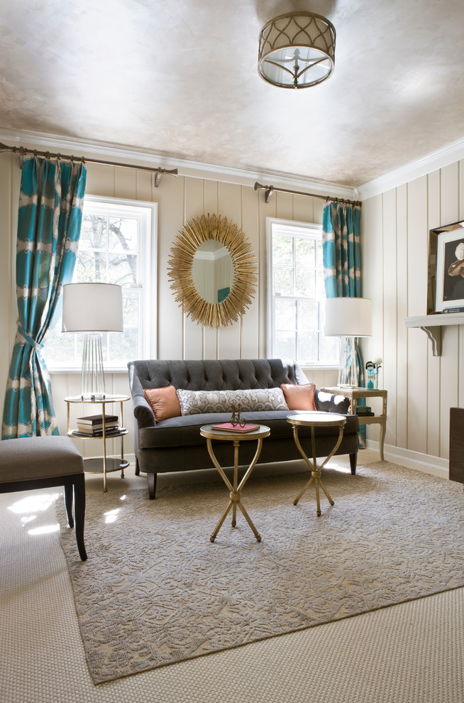 Example of a mid-sized transitional enclosed carpeted and brown floor living room design in DC Metro with beige walls, no fireplace and no tv