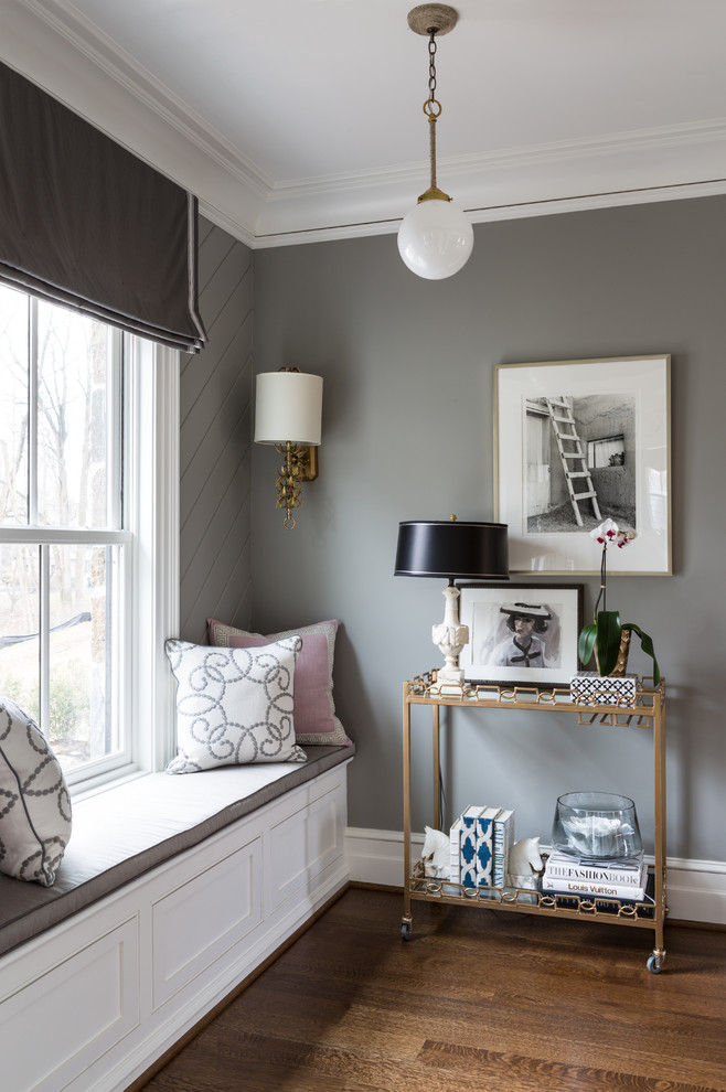 Example of a classic dark wood floor living room design in DC Metro with gray walls