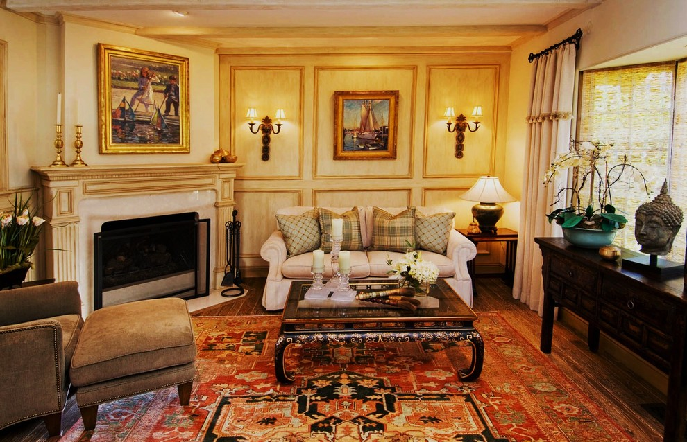 Inspiration for a mid-sized timeless formal and enclosed medium tone wood floor and brown floor living room remodel in Seattle with beige walls, no tv, a standard fireplace and a stone fireplace