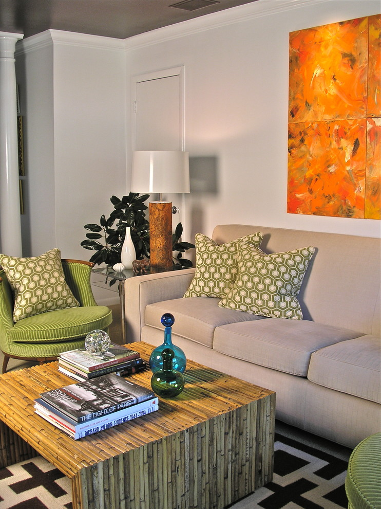 Living room - small modern open concept carpeted living room idea in Atlanta with white walls