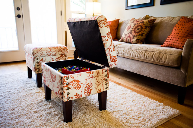 Decorating With Orange Traditional Living Room Charlotte By Simple Living Rooms With Ottomans